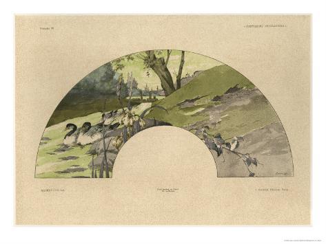 Fan, Plate 23, Fantaisies Decoratives, Librairie de l'Art, Paris, 1887 Giclee Print