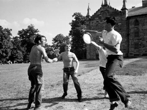 Group of Kenyon College Students Playing with Flying Disc, Design for Frisbee was Patented in 1948 Premium Photographic Print