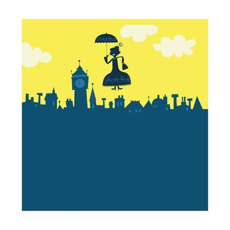 Mary Poppins in Sky Art Print