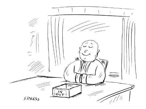 A Zen Buddist sitting at a desk with the traditional 'In' and 'Out' boxes … - New Yorker Cartoon Premium Giclee Print