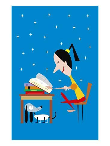 girl reading at night Giclee Print