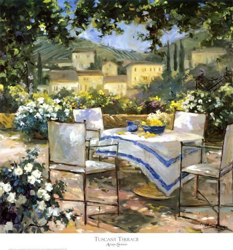 Terrasse in der Toskana Kunstdruck von Allayn Stevens bei