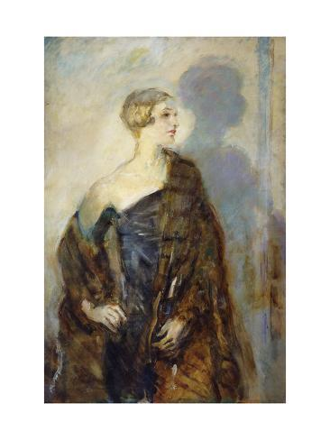 Portrait of Lady Abdy wearing a fur wrap by Ambrose McEvoy. Image via All Posters.