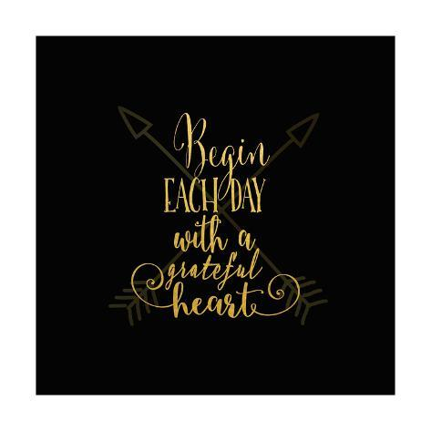 Begin Each Day Arrows Gold on Black Posters by Tara Moss - AllPosters.co.uk