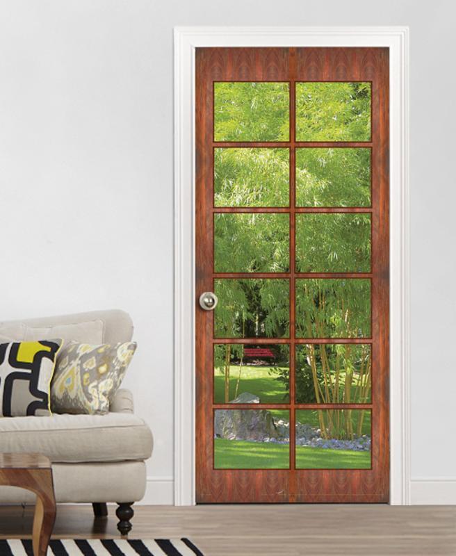 t r mit ausblick in den bambusgarten fototapete t rposter wandgem lde 90 x 200cm ebay. Black Bedroom Furniture Sets. Home Design Ideas