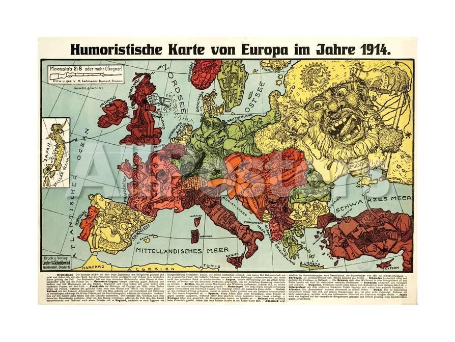 Karte Von Europa 1914.Satirical Map Humoristische Karte Von Europa Im Jahre 1914