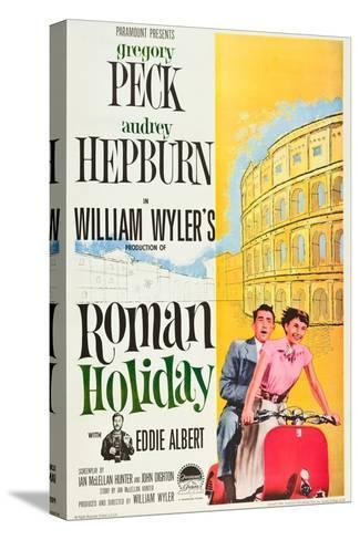 Roman Holiday, Eddie Albert, Gregory Peck, Audrey Hepburn, 1953 Opspændt lærredstryk