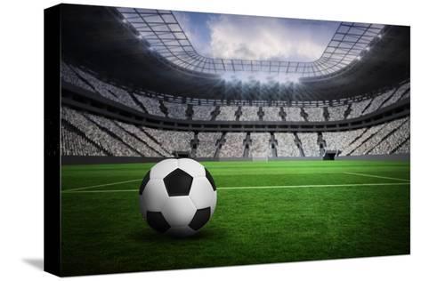 Composite Image of Black and White Leather Football Trykk på strukket lerret