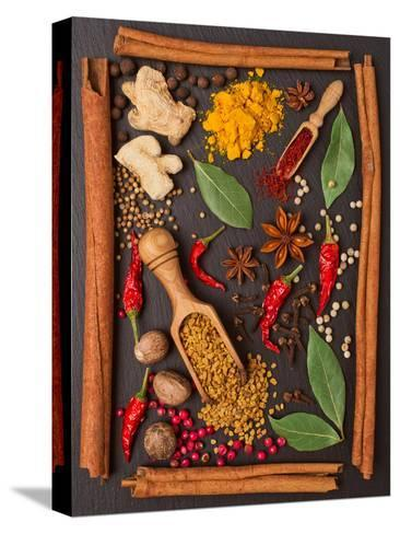 Still Life with Spices and Herbs in the Frame Bedruckte aufgespannte Leinwand