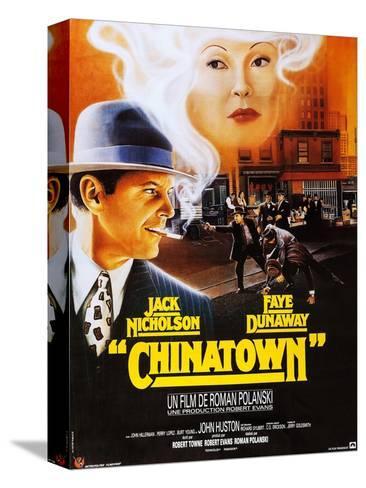 Chinatown, French Poster Art, Jack Nicholson, Faye Dunaway, 1974 Bedruckte aufgespannte Leinwand