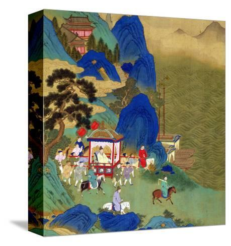 Emperor Ch'In Wang Ti Travelling in a Palanquin, from a History of Chinese Emperors Kunst op gespannen canvas