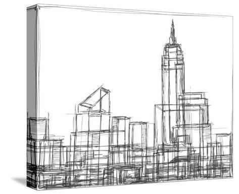 Wire Frame Cityscape I Kunst op gespannen canvas van Ethan Harper ...