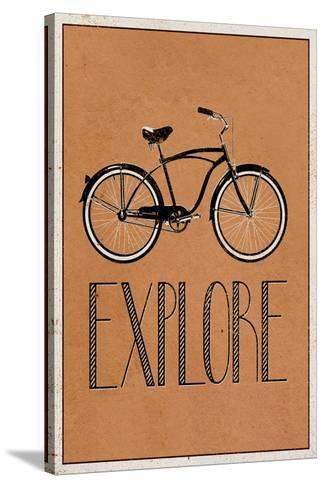 Explore Retro Bicycle Player Art Poster Print Bedruckte aufgespannte Leinwand