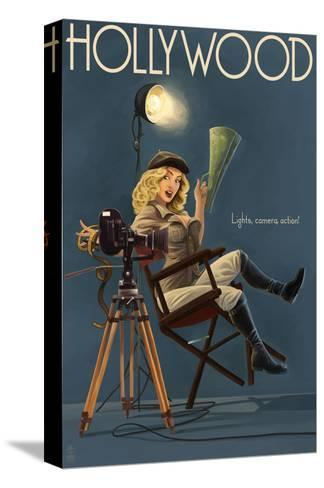 Hollywood, California - Directing Pinup Girl Kunst op gespannen canvas