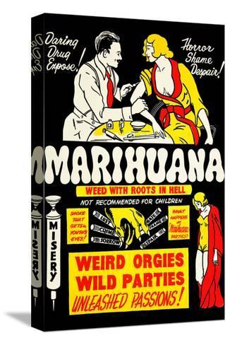 Marihuana: Weed with Roots in Hell Bedruckte aufgespannte Leinwand