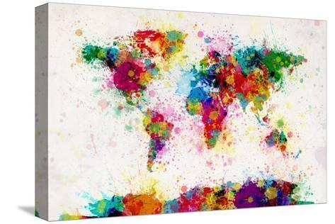 Weltkarte Aus Farbspritzern. Leinwand