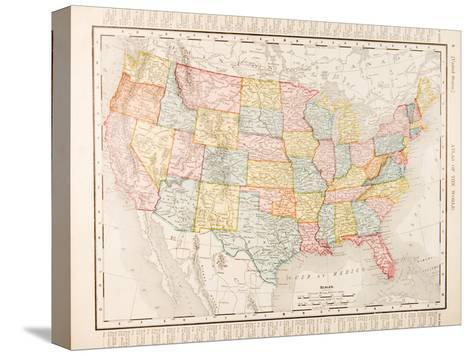 Antique Vintage Color Map United States of America, USA Bedruckte ...