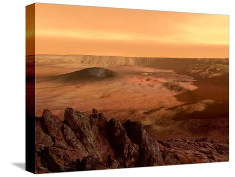 The View from the Rim of the Caldera of Olympus Mons on Mars Bedruckte aufgespannte Leinwand