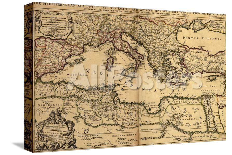 1685 Map Of The Mediterranean Sea And Coastal Lands Photo At
