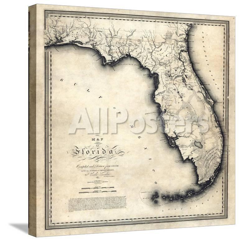 United States Map Florida.1823 Florida State Map Florida United States
