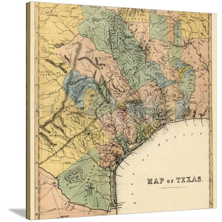 The Map Of Texas State.1840s Texas State Map Texas United States Giclee Print At