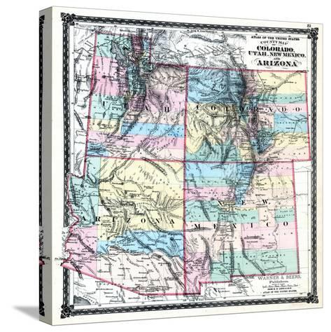 1875, Colorado, Utah, New Mexico and Arizona States Map, United ...