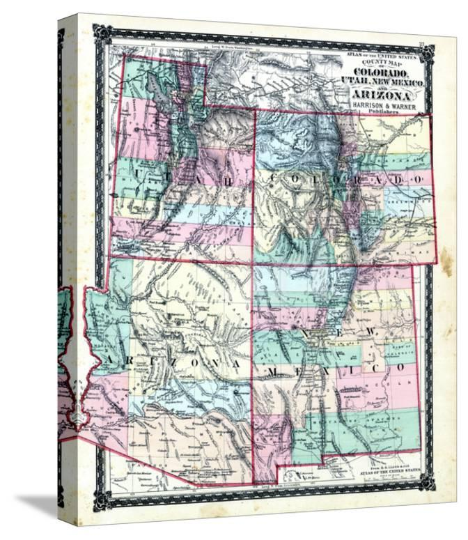 1876, County Map of Colorado, Utah, New Mexico and Arizona, United ...