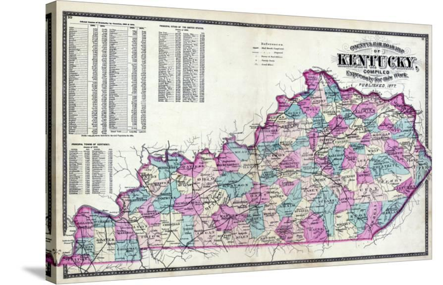 1877, Kentucky County and Rail Road Map, Kentucky, United States