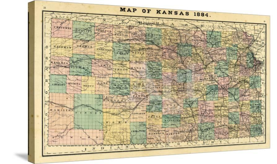 1884, Kansas State Map, Kansas, United States Giclee Print at ...