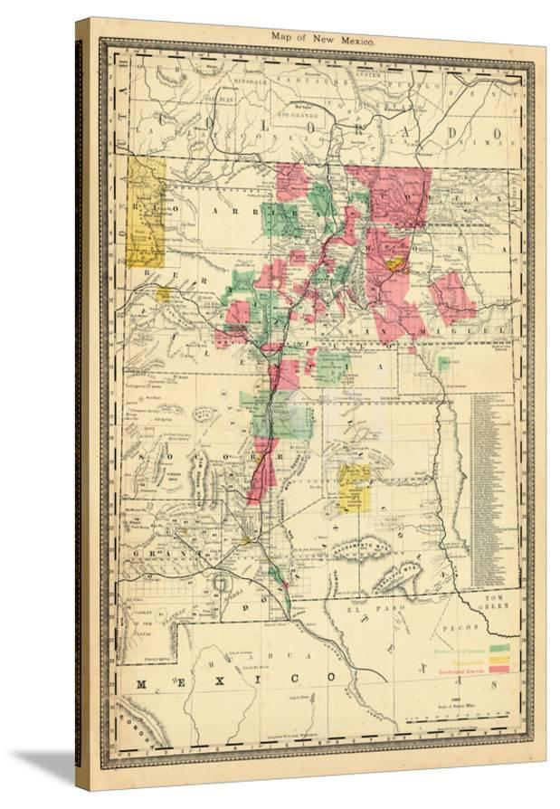 1885 New Mexico State Map New Mexico United States Giclee Print