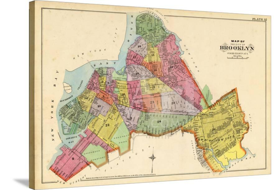 Map Of New York Brooklyn.1890 Brooklyn City Map New York United States