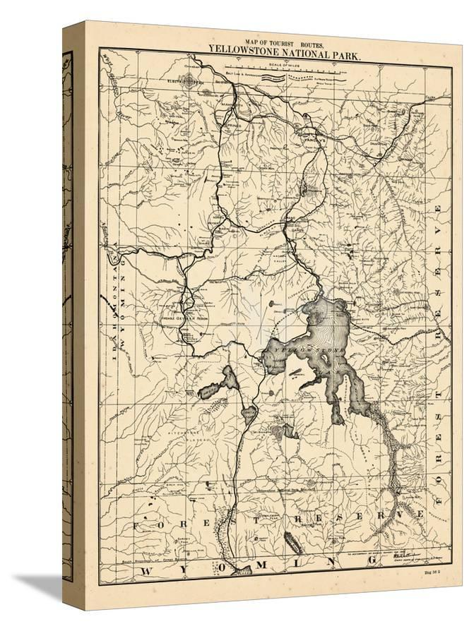 1900, Yellowstone National Park Tourist Map, Wyoming, United States