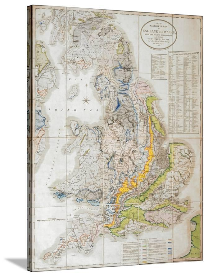 Map Of England Districts.A New Geological Map Of England And Wales With The Inland Navigations Exhibiting The Districts