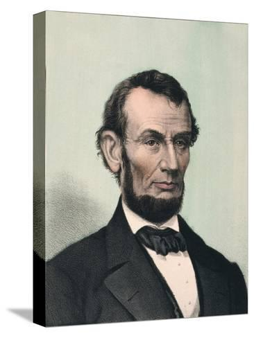 Abraham Lincoln, Hand Colored Lithography Published after Lincoln's Death in 1865 Stampa su tela