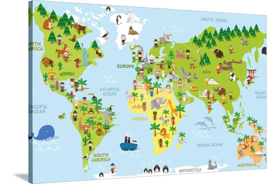 Funny Cartoon World Map With Children Of Different Nationalities