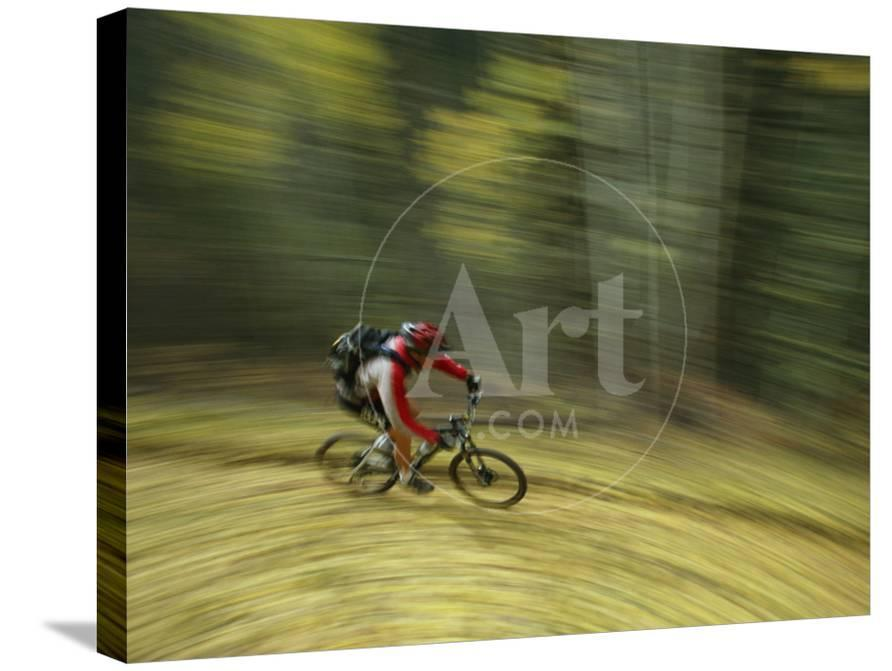 Jim Hall Speeds down Bear Creek Trail on a Bicycle