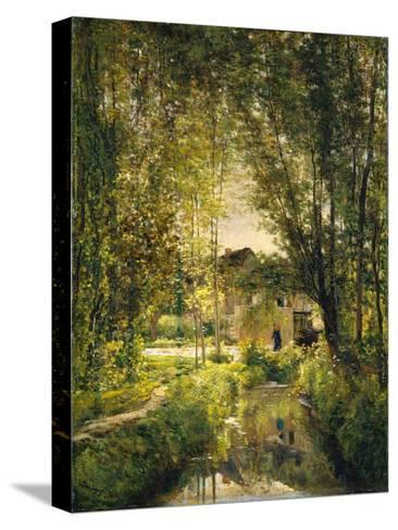 Landscape with a Sunlit Stream, c.1877 Reproducción de lámina sobre lienzo