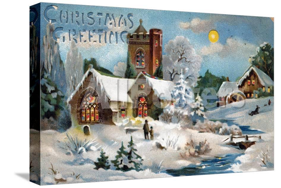 Christmas Card, Church in Winter Scene, Beatrice Litzinger ...