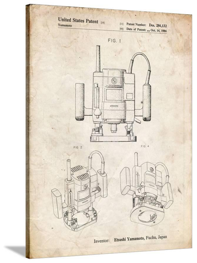 pp1025-vintage parchment ryobi portable router patent poster giclee print  by cole borders at allposters com