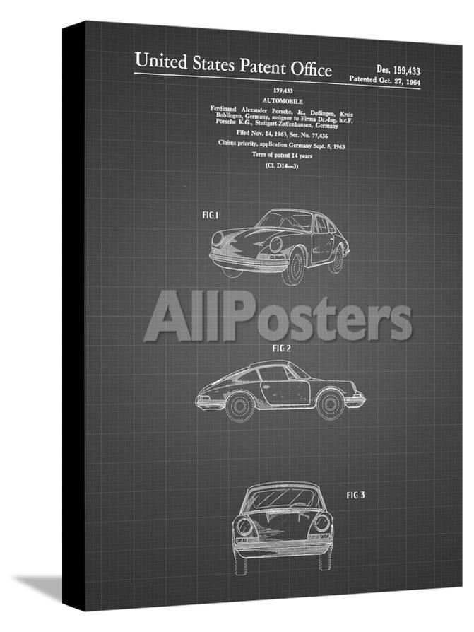 PP144- Black Grid 1964 Porsche 911 Patent Poster
