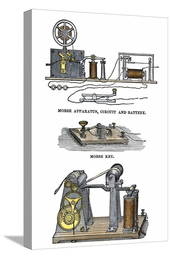 Diagrams of Morse's Telegraph Apparatus, Key, and Register