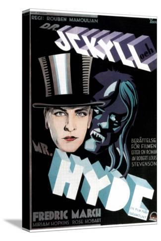 Dr. Jekyll and Mr. Hyde, Fredric March on Swedish Poster Art, 1931 Stretched Canvas Print