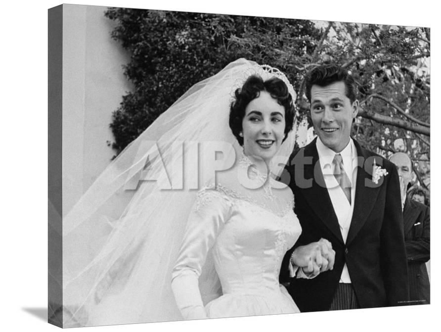 Elizabeth Taylor Wearing Beautiful Satin Wedding Gown With Husband