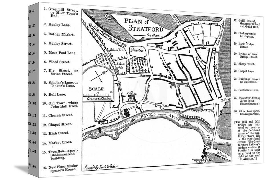 f76f022c542 Map of Stratford-Upon-Avon, Warwickshire, 1759 Giclee Print by Edward Hull  at AllPosters.com