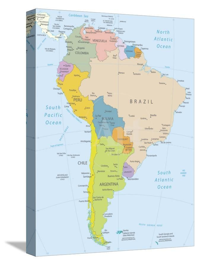Detailed Map Of America.South America Highly Detailed Map