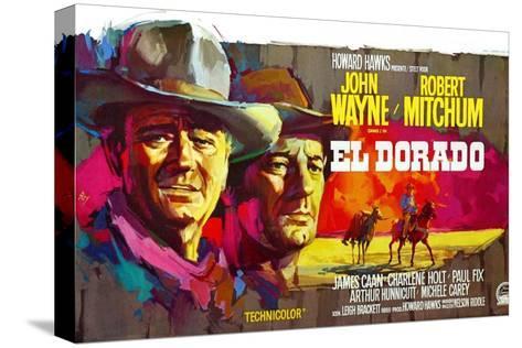 El Dorado, John Wayne, Robert Mitchum, Belgian Poster Art, 1967 Stretched Canvas Print