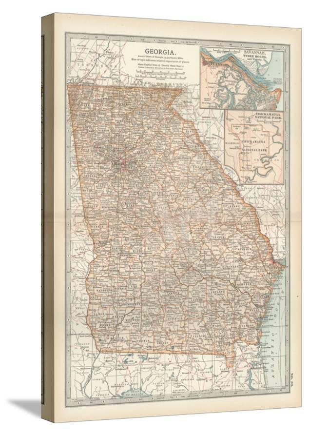 Map Of Georgia United States.Map Of Georgia United States Inset Maps Of Savannah And Vicinity Chickamauga National Park