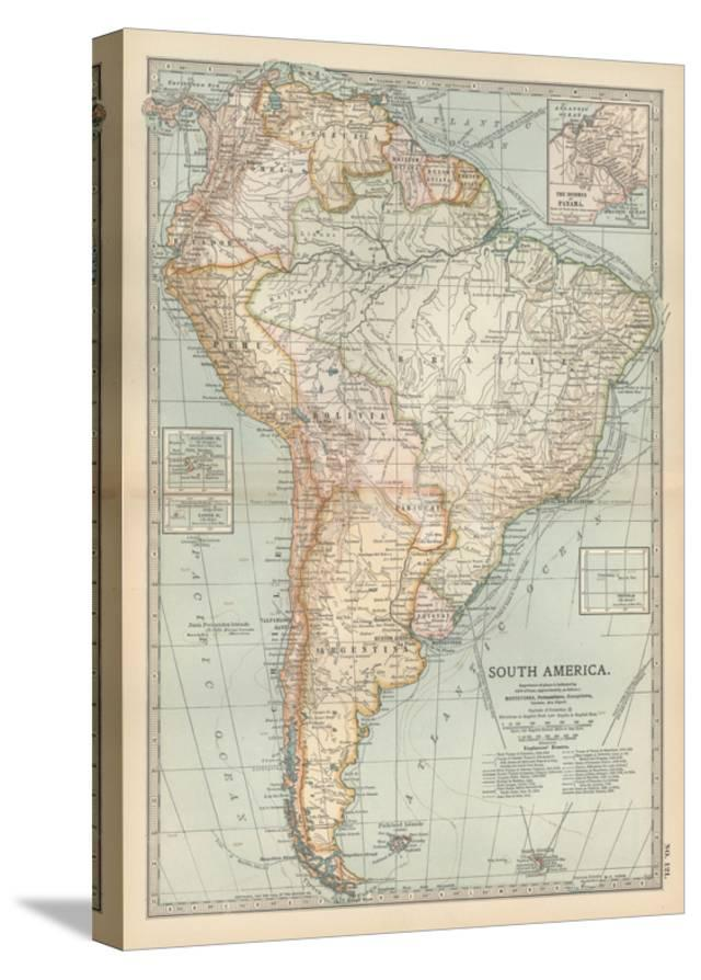 Map Of South America Inset Map Of The Isthmus Of Panama And The