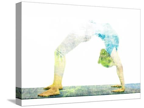 Nature Harmony Healthy Lifestyle Concept - Double Exposure Image of Woman Doing Yoga Asana Upward B Reproducción de lámina sobre lienzo