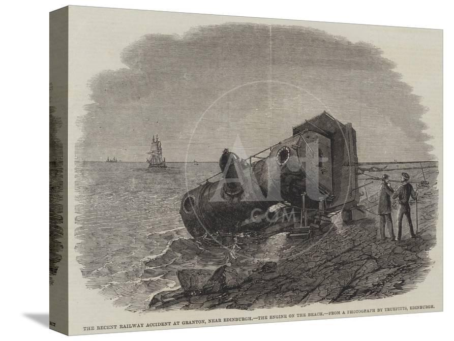 The Recent Railway Accident at Granton, Near Edinburgh, the Engine on the  Beach